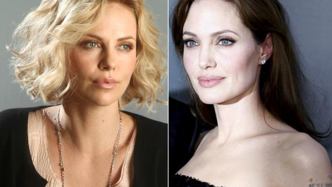 <p>Las actrices Charlize Theron y Angelina Jolie.</p>