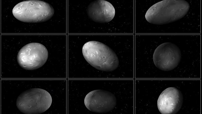 """<p>This set of computer modeling illustrations of Pluto's moon Nix shows how the orientation of the moon changes unpredictably as it orbits the """"double planet"""" Pluto-Charon.</p>"""