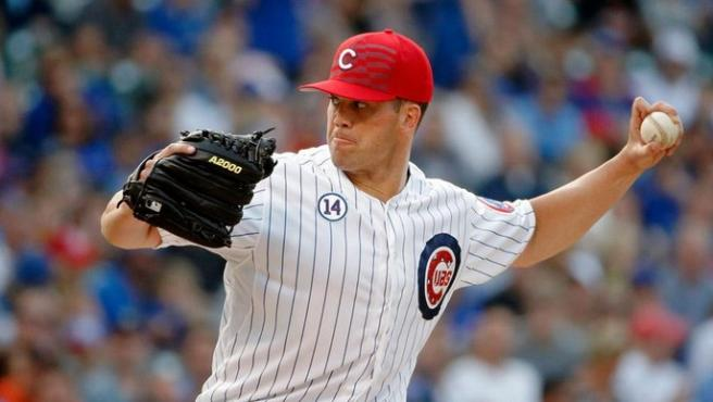 <p>Clayton Richard durante su partido debut con los Cachorros de Chicago.</p>